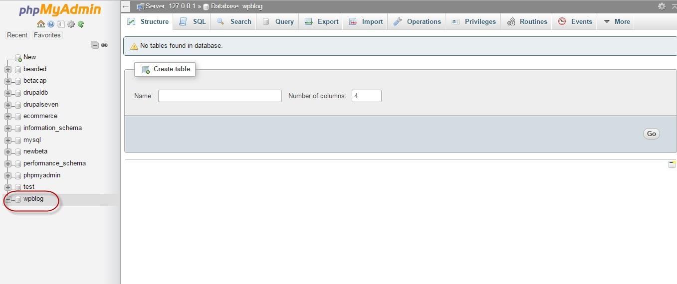 """A new database named """"wpblog"""