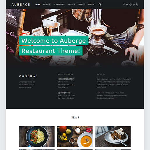 bar wordpress theme - auberge