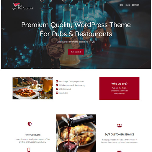 bar wordpress theme - bar restaurant