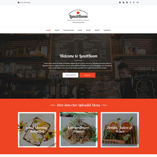 bar wordpress theme - lunchroom