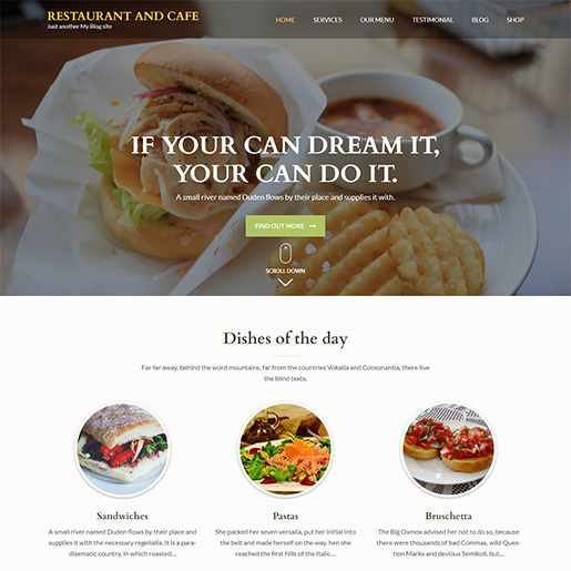 bar wordpress theme - restaurant and bar
