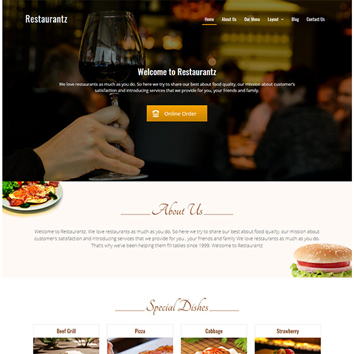 bar wordpress theme - restaurantz