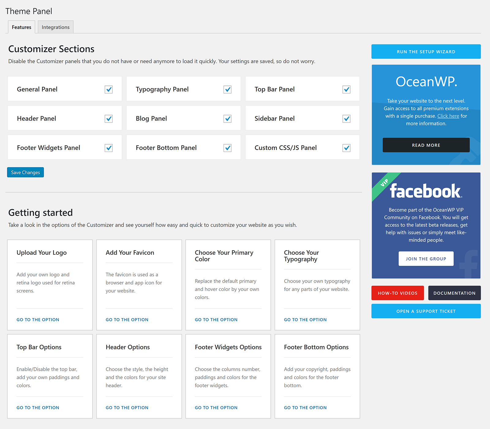 OceanWP Theme Panel Features